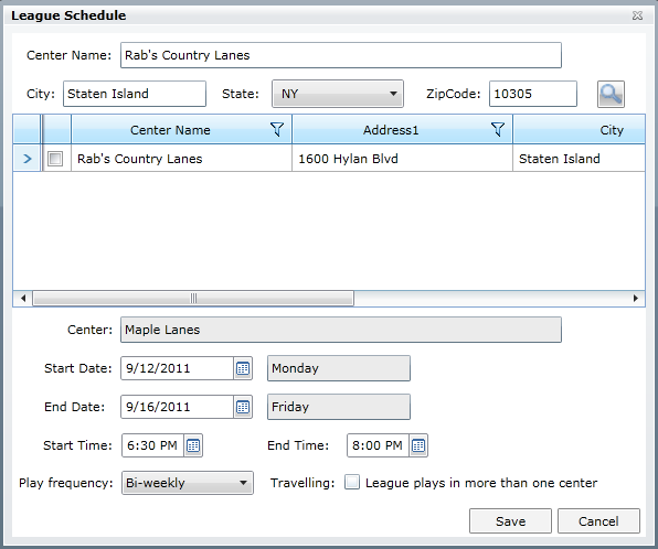 Edit League Schedule pop